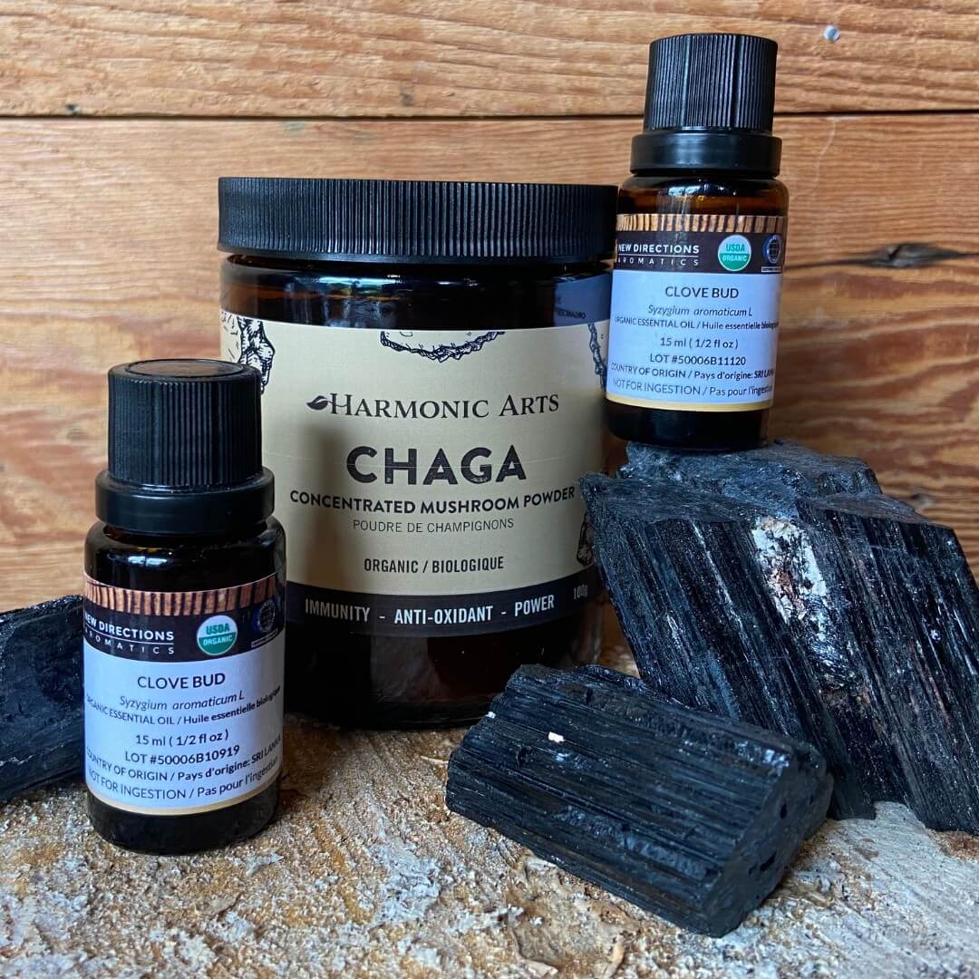 chaga medicinal mushrooms clove oil and black tourmaline